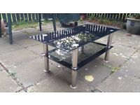 Coffee Table Black Glass and Chrome - SW London