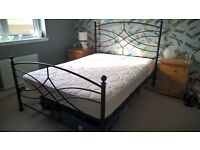 Black Double Metal Bed frame with Mattress