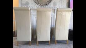 3 ivory faux leather dining chairs