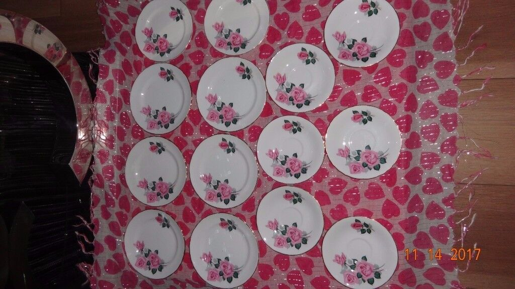 Job Lot English Rose Fine Bone China Side Plates/Saucers Tea Party/Wedding Shabby Chic Projects