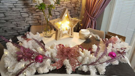pre lit white christmas decoration