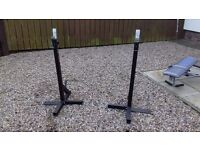 Squat Stands Heavy Duty Can Be Used for Flat Bench Also Takes Olympic Are standard Bars