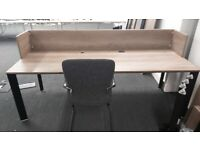 29 Light walnut office desks/tables with cable mgmt, modesty panels and dividers