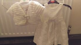 Girls Ivory Embroidered and sequined Dress with Faux Fur Bolero