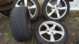 Set of alloy wheels and good 195 45 15 tyres for Ford Fiesta, Ka etc