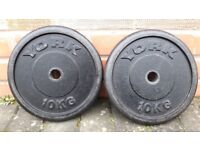 VARIETY OF BRANDED 10KG CAST IRON WEIGHT PLATES - 1 Inch holes