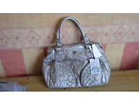 Ladies New With Tags Silver Medium Sized Hand Bag