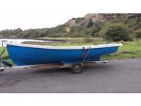 17ft grp boat with trailer + 4/5 hp seagull outboard