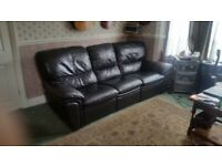 Black Leather double Recliner Sofa