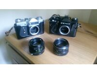 Zenit E and Zenit 12xp cameras with Helios 44m 2/58 lenses and other lenses, filters and case.