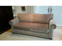 As new excellent quality double bed sofa bed in taupe chenille fabric