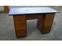 Cute petite vintage vinyl topped knee hole desk/dressing table