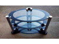 3 Tier Oval Glass TV Unit / Table / Stand