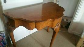 Vintage solid wood half round table (probably antique)