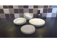 White china 12 piece dinner set and 4 Denby white pasta/cereal bowls