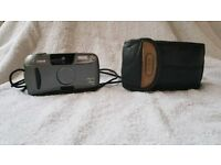 Canon sure shot sleek rangefinder 35mm compact camera with flash lomo lomography leather case