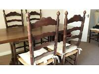 Solid Thick Dining Room Table Plus 4 Ashe Cain Chairs