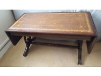 Coffee Table Extending Drop Leaf Leather Inlay