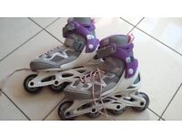 Decathlon Oxelo Fit 3 Junior in-line skates grey/purple size 2.5-5 adjustable