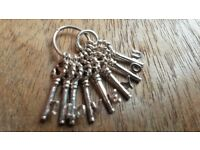 'I love you' sterling silver bunch of keys charm.