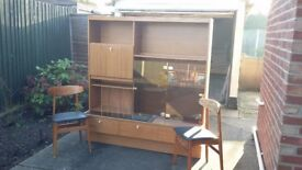 1970 drinks cabinet sideboard unit teak and two chairs