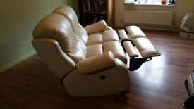 Leather cream Italian sofa