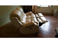 Leather cream Italian sofa