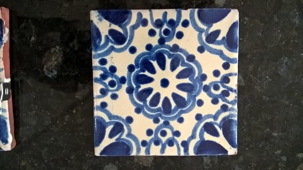 Handmade Blue And White Glazed Clay Tiles Tile Wall Kitchen