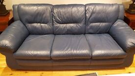 Crazy ,crazy , price .....Blue Leather 3 piece suite in excellent condition for sale .