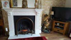beautiful cast iron fire with fire surround.