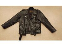 BLACK LEATHER BIKER MARLON BRANDO STYLE CASUAL JACKET SIZE SMALL TO MEDIUM