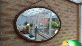 Extra Large Antique Edwardian Oval Inlaid Oak Bevelled Mirror 88cm x 62cm