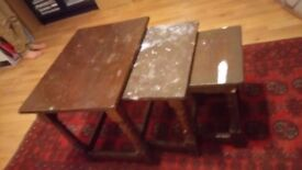 Table nest of three ideal for shabby chic project beautiful crafted table nest going cheap