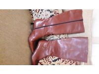 ROLAND CARTIER TAN LEATHER KNEE HIGH BOOTS