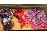 3 x silk scarves