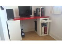 Ikea desk - white and red, adjustable size, printer stowaway