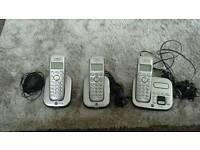 B T TRIPLE CORDLESS PHONES +ANSWERING MACHINE