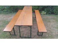 Vintage German wooden beer garden folding trestle table and bench set, ideal pop up patio furniture