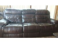Real Leather Electric Powered Recliner Sofas - 2 Available