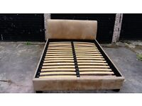IKEA MOCCA BRUSHED SUEDE KINGSIZE BED FRAME GOOD CONDITION FREE LOCAL DELIVERY