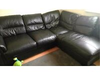 Black Leather Corner Sofa L - LOCAL FREE DELIVERY