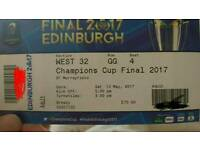 2 Champions cup rugby tickets sat 13th may