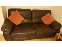 Leather 2 - 3 person sofa. Brown