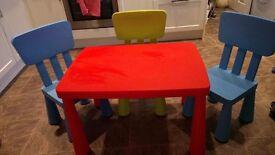 Ikea children's table and three chairs