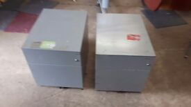 2 metal storage cabinets on wheels 10 pounds each