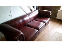 Red Chesterfield style Leather Sofa (3 seater)
