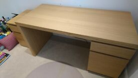 Ikea malm desk (oak veneer) and drawer unit