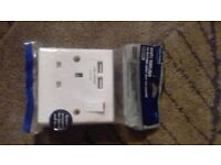 white moulded 13A socket with 2 USB charging ports