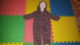 Little Rocha girl snowsuit aged 9 -12 months