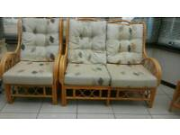 Bargain - 2 x single 1 x double conservatory sofa with large and small matching glass tables